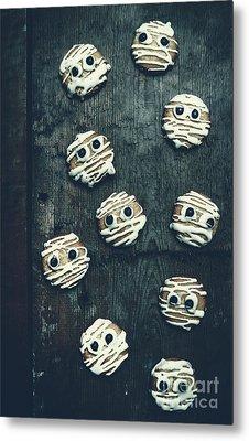 Halloween Mummy Cookies Metal Print by Jorgo Photography - Wall Art Gallery