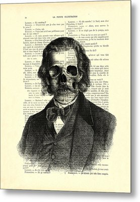 Halloween Skull Portrait In Black And White Metal Print by Madame Memento