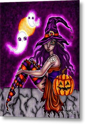 Halloween Witch Metal Print by Coriander  Shea