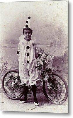 Halloween Pierrot Boy With Antique Bicycle Circa 1890 Metal Print by Peter Gumaer Ogden