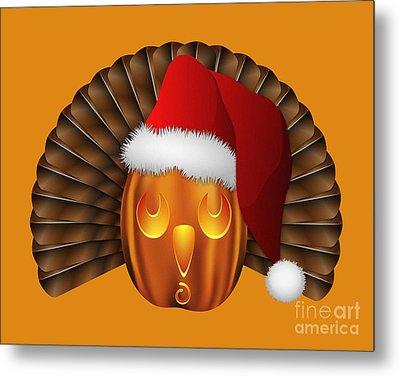 Hallowgivingmas Santa Turkey Pumpkin Metal Print