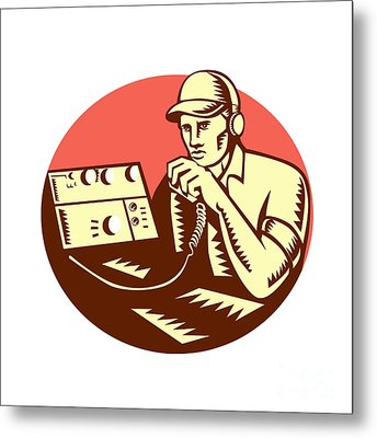Ham Radio Operator Circle Woodcut Metal Print