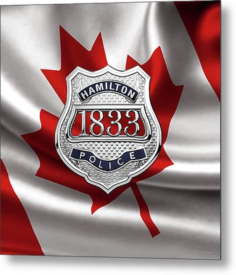 Hamilton Police Service  -  H P S  Commemorative Officer Badge Over Canadian Flag Metal Print