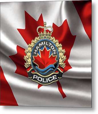 Hamilton Police Service  -  H P S  Emblem Over Canadian Flag Metal Print