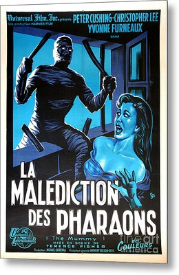 Hammer Movie Poster The Mummy La Malediction Des Pharaons Metal Print