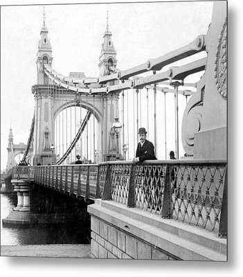 Hammersmith Bridge In London - England - C 1896 Metal Print by International  Images