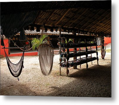 Hammocks At A Reststop Metal Print