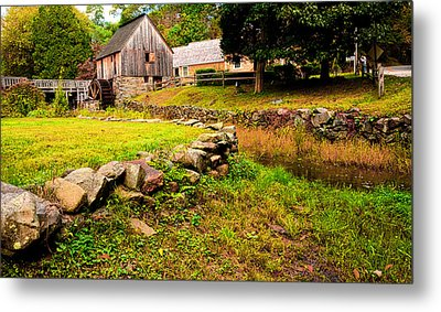 Hammond Gristmill Rhode Island - Colored Version Metal Print by Lourry Legarde