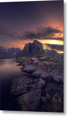 Hamnoey Sunset Metal Print by Tor-Ivar Naess