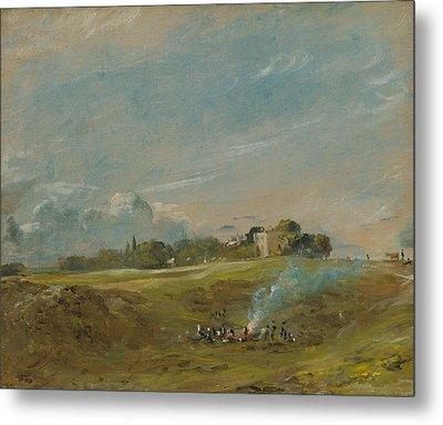 Hampstead Heath With A Bonfire  Metal Print by John Constable
