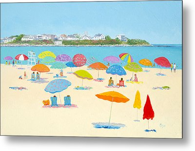 Hampton Beach Umbrellas Metal Print