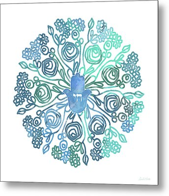 Hamsa Mandala 1- Art By Linda Woods Metal Print by Linda Woods