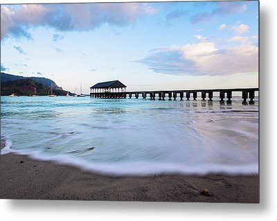 Metal Print featuring the photograph Hanalei Bay Pier At Sunrise by Melanie Alexandra Price
