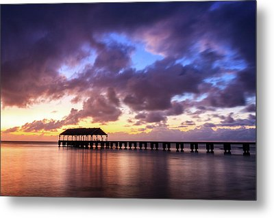 Hanalei Pier Metal Print by James Eddy