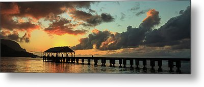 Hanalei Pier Sunset Panorama Metal Print by James Eddy