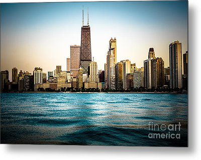 Hancock Building And Chicago Skyline Photo Metal Print by Paul Velgos