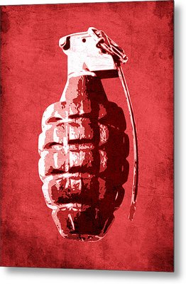 Hand Grenade On Red Metal Print by Michael Tompsett
