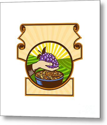 Hand Holding Grapes Raisins Crest Woodcut Metal Print