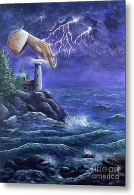 Metal Print featuring the painting Hand Of Protection by Kristi Roberts