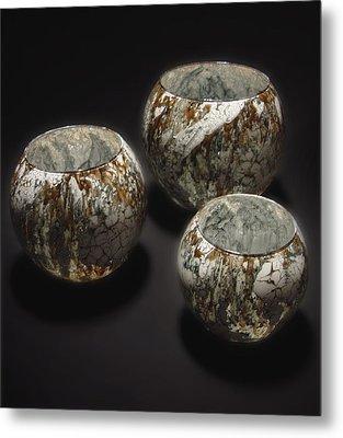 Hand Painted Glass Set Of Three Brown White Metal Print