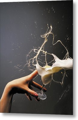 Hand With The Flying Glass Of Liqueur Metal Print