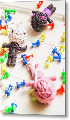 Handmade Knitted Voodoo Dolls With Pins Metal Print by Jorgo Photography - Wall Art Gallery