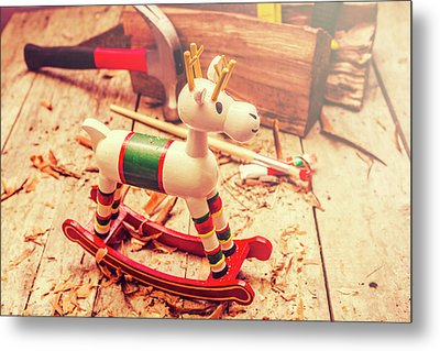Handmade Xmas Rocking Toy Metal Print