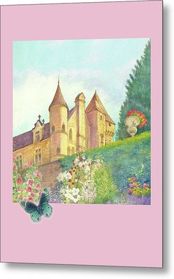 Metal Print featuring the painting Handpainted Romantic Chateau Summer Garden by Judith Cheng