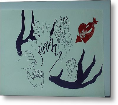 Metal Print featuring the mixed media Hands And Horns by Erika Chamberlin