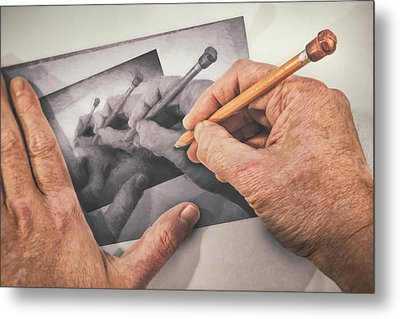 Hands Drawing Hands Metal Print by Scott Norris