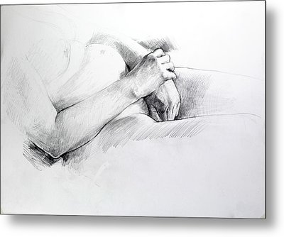 Metal Print featuring the drawing Hands by Harry Robertson