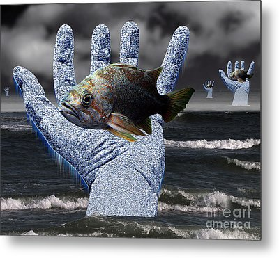 Hands Of The Lost Fishermen Metal Print by Keith Dillon