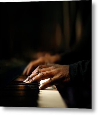Hands Playing Piano Close-up Metal Print by Johan Swanepoel