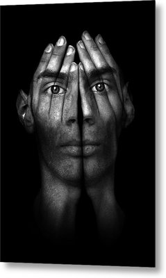 Hands Trying To Cover Eyes Metal Print by Evan Sharboneau