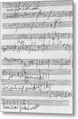 Handwritten Musical Score Metal Print by Beethoven