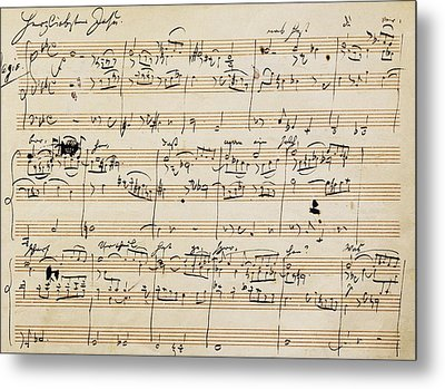 Handwritten Score For Herzliebster Jesu, Chorale Prelude Number 2 Metal Print by Johannes Brahms