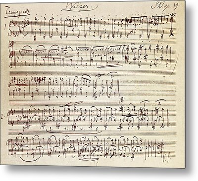 Handwritten Score For Waltz For Piano, Opus 39 Metal Print