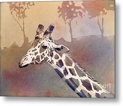 Metal Print featuring the painting Hanging Out- Giraffe by Ryan Fox