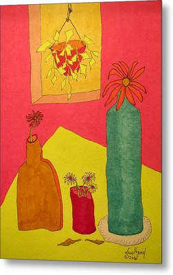 Hanging Plant And 3 On Table Metal Print