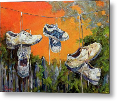 Hanging Tennis Shoes Metal Print by Jean Groberg