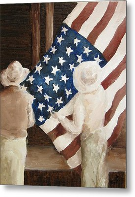 Hanging The Flag - 1 Metal Print by Frieda Bruck