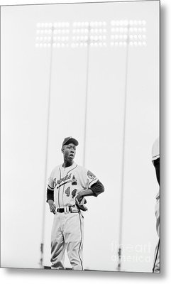 Hank Aaron On The Field, 1958 Metal Print by The Harrington Collection