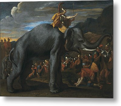Hannibal Crossing The Alps On Elephants Metal Print by Nicolas Poussin