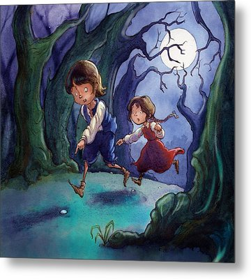 Hansel And Gretel Pebbles Metal Print