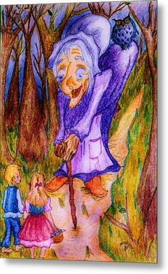 Metal Print featuring the drawing Hansel And Gretel by Rae Chichilnitsky