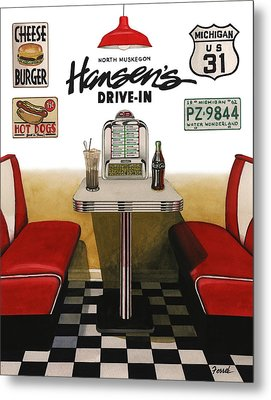 Metal Print featuring the painting Hansen's Drive-in by Ferrel Cordle