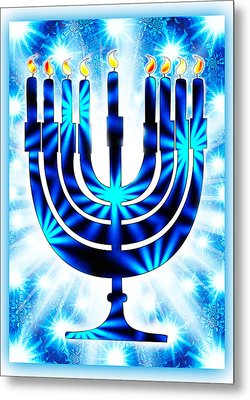 Hanukkah Greeting Card Ix Metal Print by Aurelio Zucco