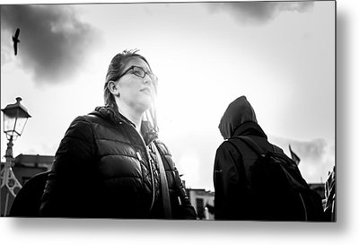Ha'penny Bridge - Dublin, Ireland - Black And White Street Photography Metal Print by Giuseppe Milo