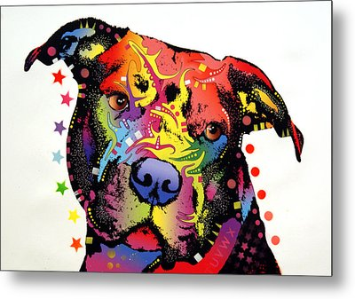 Happiness Pitbull Warrior Metal Print by Dean Russo