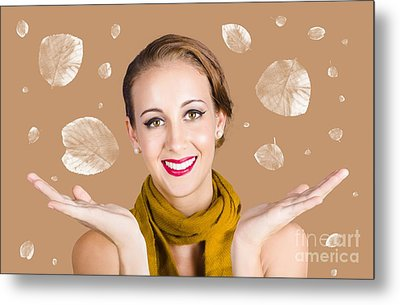 Happy Autumn Woman With Spread Hands Metal Print